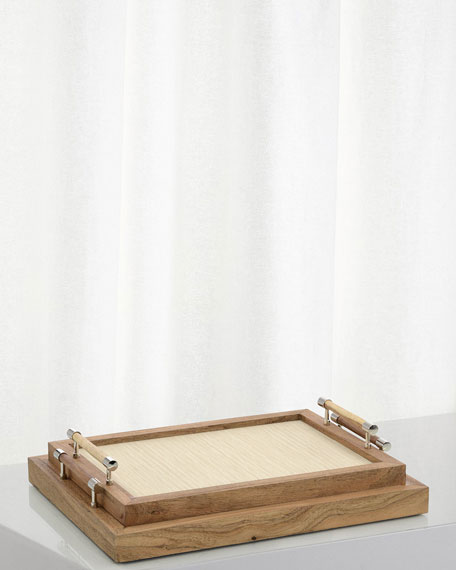 John-Richard Collection White Confetti Wood Trays, Set of