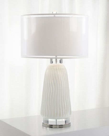 Waves in White Carved Glass Lamp