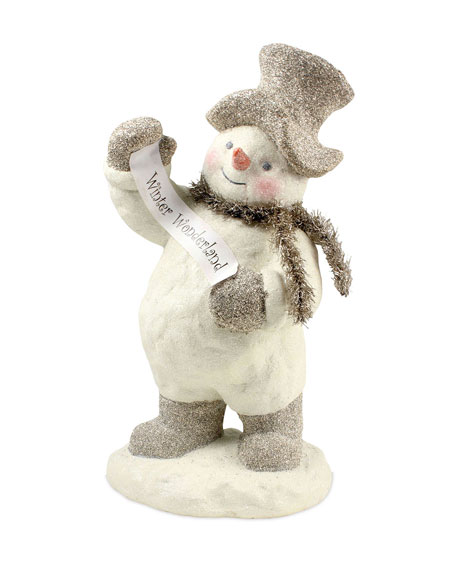 Bethany Lowe Winter Wonderland Snowman with Banner