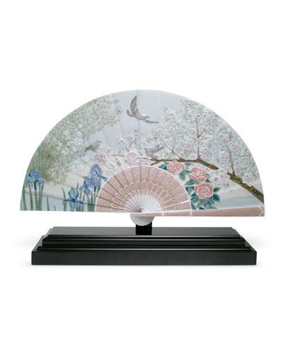 Iris & Cherry Flowers Decorative Fan