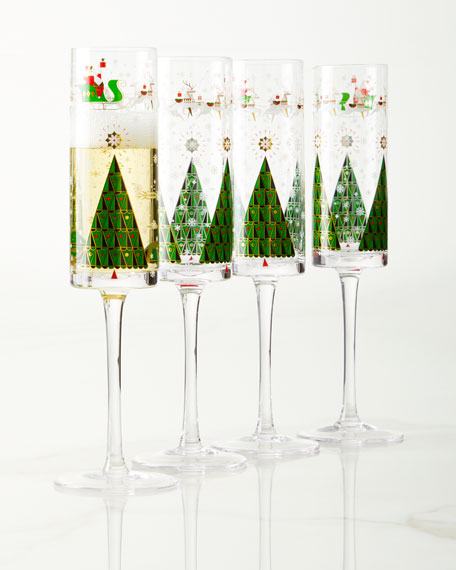 Neiman Marcus Good Cheer Champagne Flutes, Set of