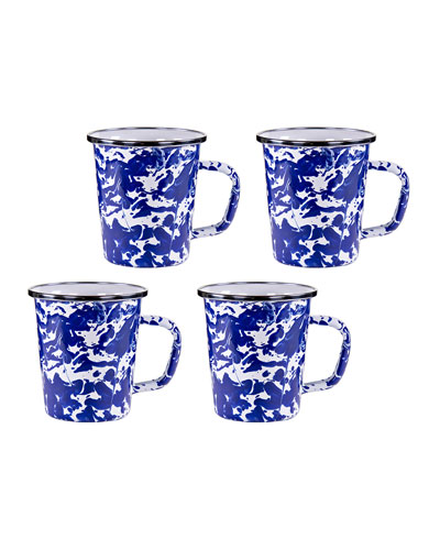 Cobalt Swirl Latte Mugs  Set of 4