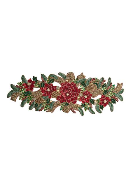 Kim Seybert Christmas Poinsettia Table Runner