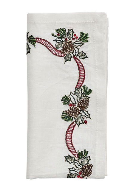 Kim Seybert Holiday Bough Napkin
