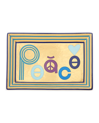 Peace Rectangle Tray  Blue/Gold