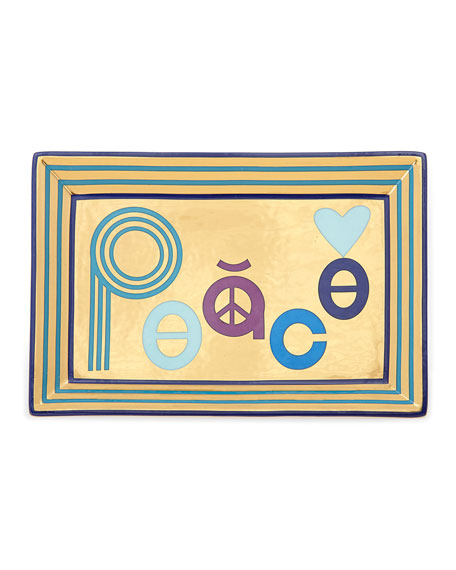 Peace Rectangle Tray, Blue/Gold