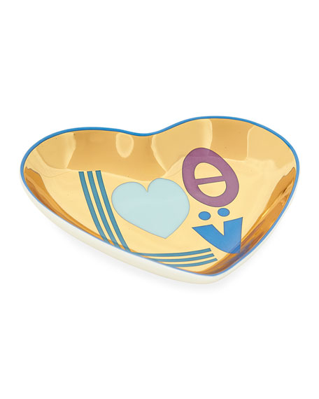 Love Trinket Tray, Blue/Gold