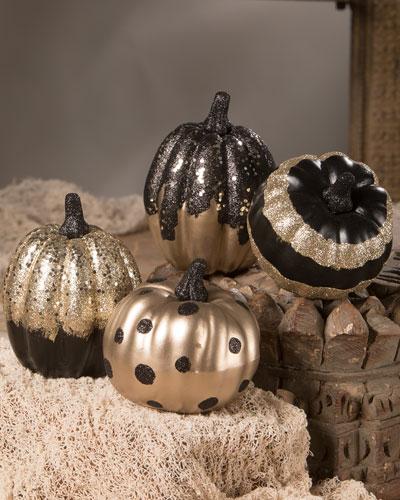 Black and Gold Pumpkins  Set of 4