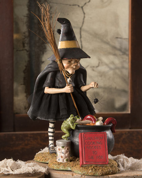 Bethany Lowe Cauldron Cooking Witch