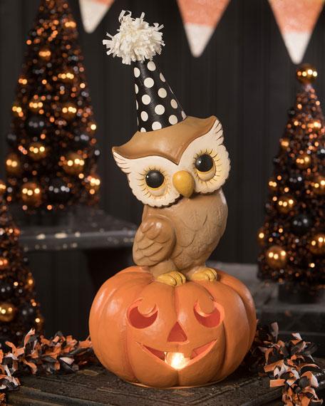 Party Owl on Medium Pumpkin