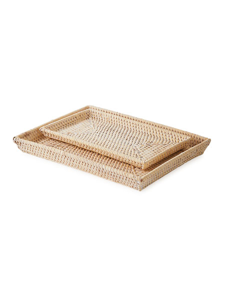 Dalton Whitewashed Nested Trays, Set of 2