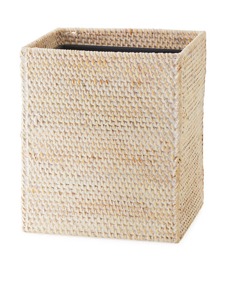 Dalton Whitewashed Rattan Wastebasket