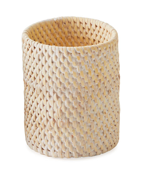 Dalton Whitewashed Rattan Brush Holder