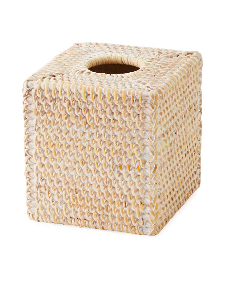 Dalton Whitewashed Rattan Tissue Box Cover