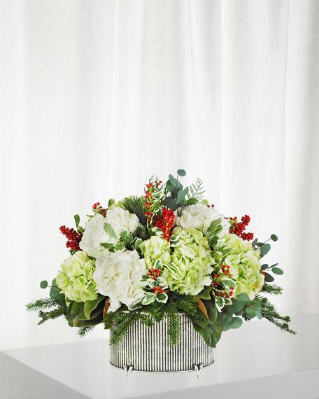 Hydrangea Holly in Small Oval Vase