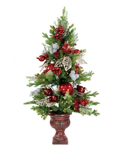 42 Red/Silver Iced Berry Holly Christmas Tree in Urn