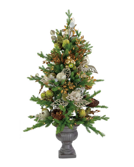 """42"""" Green/Silver Beaded Pomegranate Christmas Tree in Urn"""