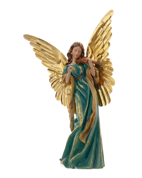 """23"""" Green/Gold Angel with Violin"""
