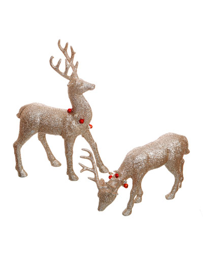 Fine Glitter Deer  Set of 2