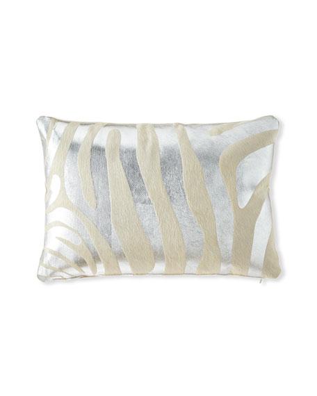 Massoud Metallic Zebra Hair Hide Pillow, 23