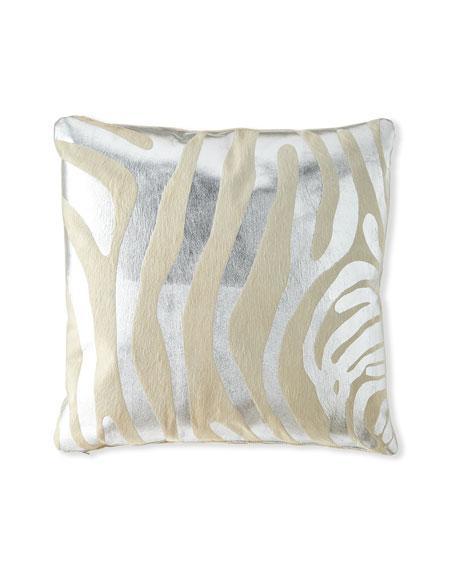 "Metallic Hair Hide Zebra Pillow, 22""Sq."