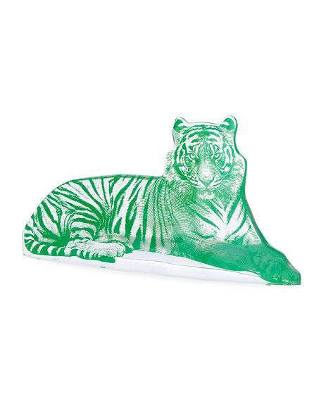 Jonathan Adler Green Acrylic Tiger Sculpture
