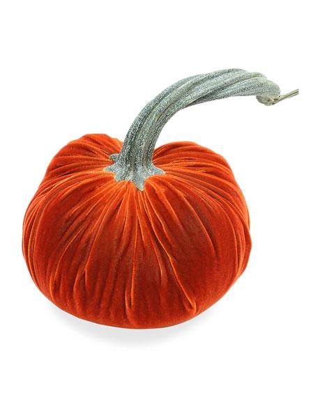 "3"" Velvet Pumpkin with Natural Stem"