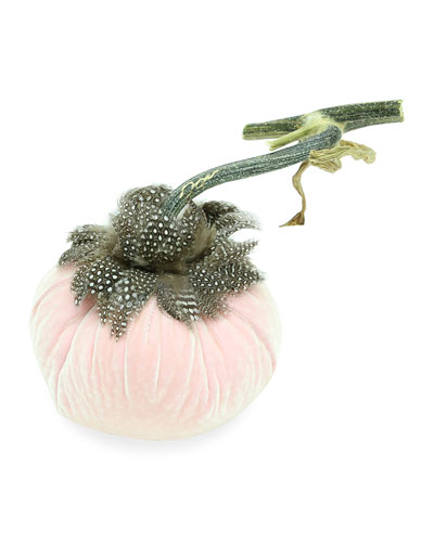 5 Velvet Pumpkin with Natural Stem & Feathers