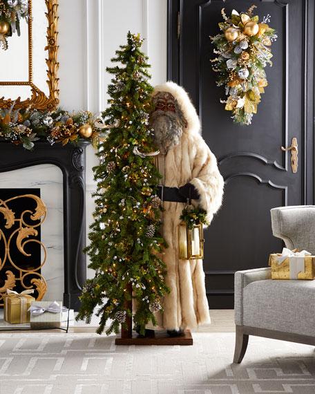 "Golden Opulence Black Santa with Lighted Tree, 57"""