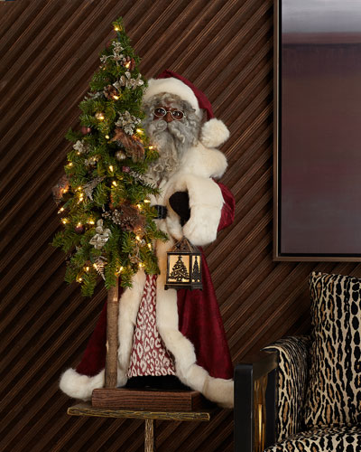 Plum Wine Holiday Black Santa with Tree  29