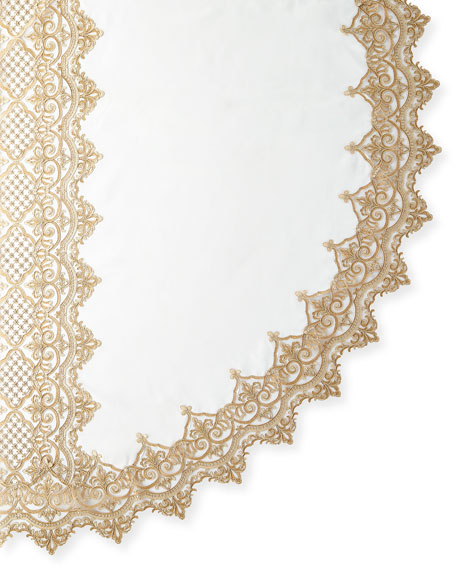"Antique Lace 90"" Round Tablecloth & 12 Napkins"