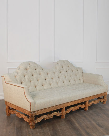 Camelia Sofa with Natural Wood Hand-Carved Base
