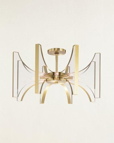 Genesis Acrylic and Antique Brass 8-Light Semi-Flush Light Fixture
