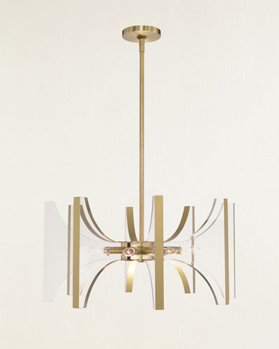 Genesis Acrylic and Antique Brass 8-Light Chandelier