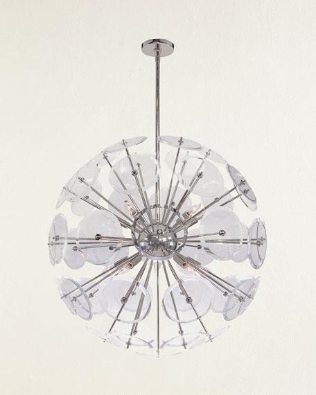 Genesis Acrylic Sphere 10-Light Pendant in Polished Nickel