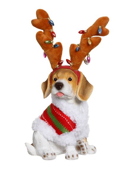 Christmas Dog with Deer Antlers