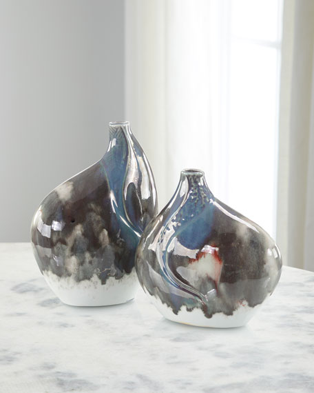 John-Richard Collection Marbled Reactive Vases, Set of 2