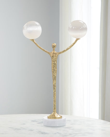John-Richard Collection Brass Figural Balancing Two Selenite