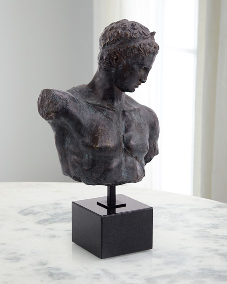 Greek Bust Sculpture in Verde Black