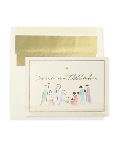 Watercolor Nativity Holiday Cards  Set of 25