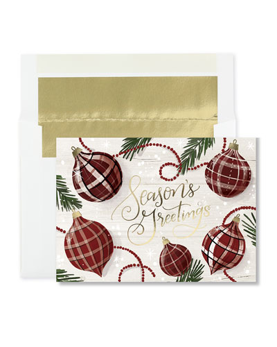 Greetings in Plaid Cards  Set of 25
