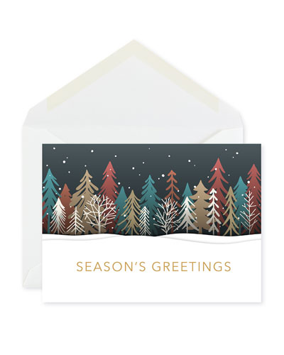 Colored Treeline Greeting Cards  Set of 25