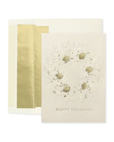 Wreath of Elegance Holiday Cards  Set of 25