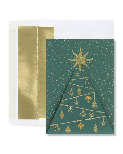 Glittering Tree Greeting Cards  Set of 25