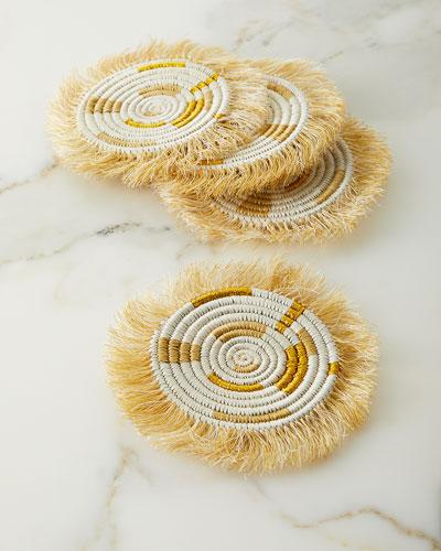 Gold Fringe Coasters  Set of 4