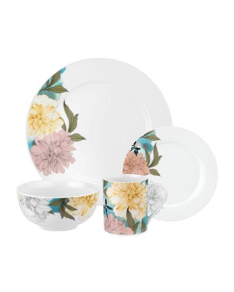 Floral Sketches 16-Piece Dinnerware Set