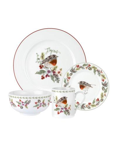 Robin Wreath 16-Piece Dinnerware Set