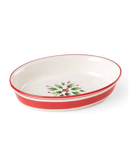 Lenox Holiday Hand-Painted Oval Baker