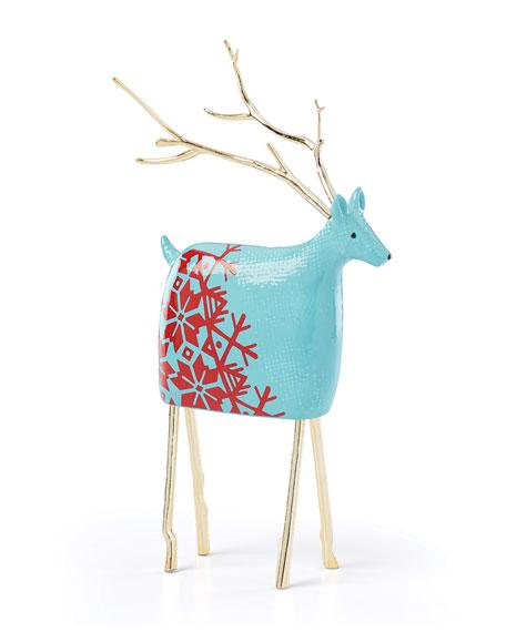 Festive Folk Large Reindeer, Turquoise