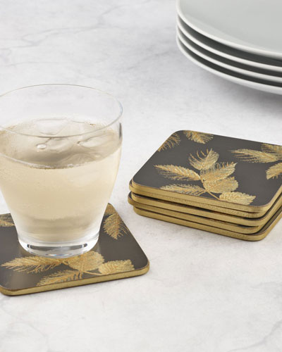 Sara Miller Etched Leaves Coasters  Set of 6